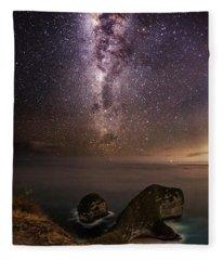 Fleece Blanket featuring the photograph Nusa Penida Beach At Night by Pradeep Raja Prints