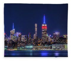 Nyc At The Blue Hour Fleece Blanket