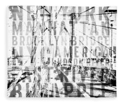 Nyc Brooklyn Bridge Typography No2 Fleece Blanket