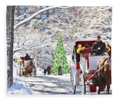 Festive Winter Carriage Rides Fleece Blanket