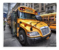 Nyc School Bus Fleece Blanket