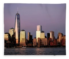 Nyc Skyline At Dusk Fleece Blanket