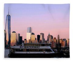 Nyc Skyline With Boat At Pier Fleece Blanket