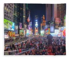 Nyc Times Square Panorama Fleece Blanket