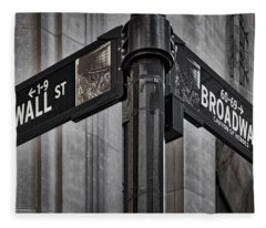 Nyc Wall Street And Broadway Sign Fleece Blanket