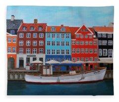 Nyhavn Copenhagen Fleece Blanket