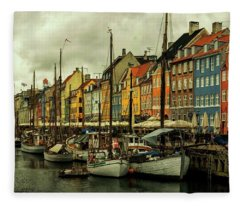 Nyhavn In Copenhagen Fleece Blanket