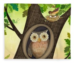 O Is For Owl Fleece Blanket