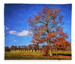 Oak Tree And Hay Bales Fleece Blanket