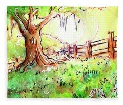 Oak Tree Hill Fleece Blanket