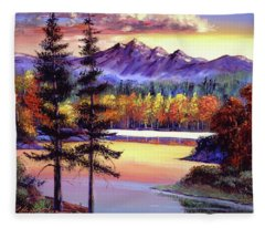 Oak Tree Lake At Sunset Fleece Blanket