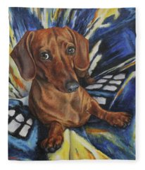 Dachshund Time Lord Fleece Blanket