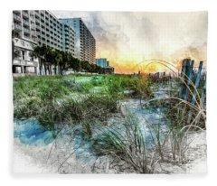 Ocean Drive Easter Sunrise Fleece Blanket