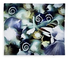 Fleece Blanket featuring the mixed media Ocean Gems 21 by Lynda Lehmann