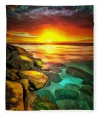 Ocean Lit In Ambiance Fleece Blanket