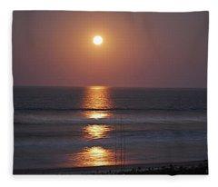 Ocean Moon In Pastels Fleece Blanket