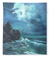 Seascape And Moonlight An Ocean Scene Fleece Blanket