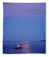 Ocean Moonrise Fleece Blanket