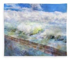 When Waves Tumble Fleece Blanket
