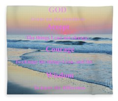 Ocean Sunrise Serenity Prayer Fleece Blanket