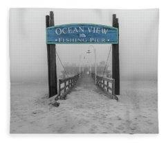 Ocean View Pier Partial Color Fleece Blanket