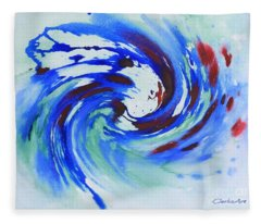Ocean Wave Watercolor Fleece Blanket