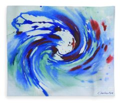 Ocean Wave Watercolor Fleece Blanket