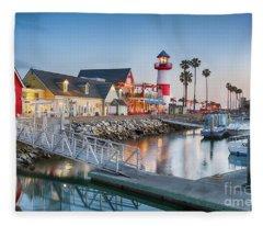 Oceanside Harbor Village At Dusk Fleece Blanket