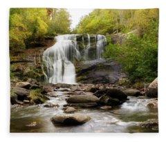 October At Bald River Falls Fleece Blanket