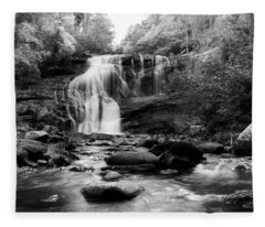October At Bald River Falls In Black And White Fleece Blanket