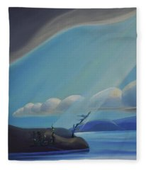 Ode To The North II - Left Panel Fleece Blanket