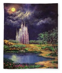 Of Glass Castles And Moonlight Fleece Blanket