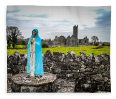Official Greeter At Ireland's Quin Abbey National Monument Fleece Blanket