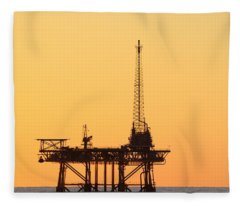 Offshore Oil And Gas Platform  Fleece Blanket