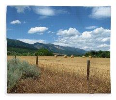 Ogden Valley Hay Bales Photo Fleece Blanket