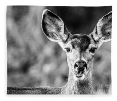Oh, Deer, Black And White Fleece Blanket