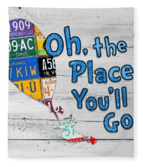 Oh The Places Youll Go Dr Seuss Inspired Recycled Vintage License Plate Art On Wood Fleece Blanket