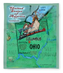 Ohio Fun Map Fleece Blanket
