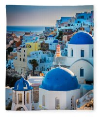 Oia Town Fleece Blanket