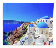 Oia Town On Santorini Island, Greece. Caldera On Aegean Sea. Fleece Blanket