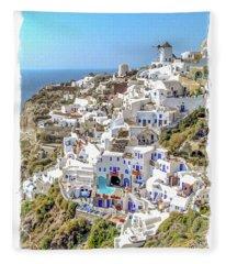 Oia Watercolor Fleece Blanket