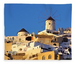 Oia Windmill Fleece Blanket