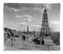 Oil Well, Wyoming, C1910 Fleece Blanket
