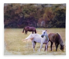 Ok Horse Ranch_1c Fleece Blanket
