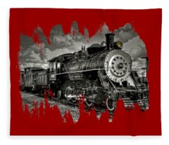 Old 104 Steam Engine Locomotive Fleece Blanket