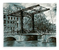 Old Amsterdam Bridge In Dutch Blue Water Colors Fleece Blanket