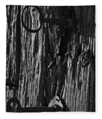 Old And Abandoned Wooden Door With Skeleton Keys Fleece Blanket