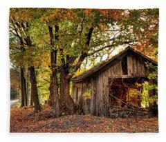 Old Autumn Shed Fleece Blanket
