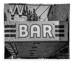 Old Bar Sign Livingston Montana Black And White Fleece Blanket