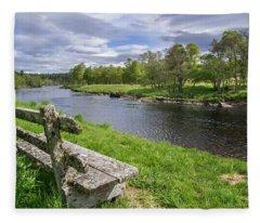 Old Bench Along Spey River, Scotland Fleece Blanket